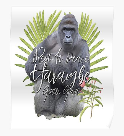 Harambe RIP Silverback Gorilla Gentle Giant Watercolor Tribute Animal Rights Activist Zoo Poster
