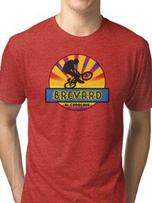 MOUNTAIN BIKE BREVARD NORTH CAROLINA BIKING MOUNTAINS Tri-blend T-Shirt