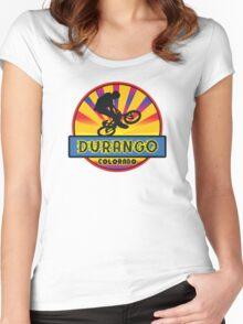 MOUNTAIN BIKE DURANGO COLORADO BIKING MOUNTAINS Women's Fitted Scoop T-Shirt