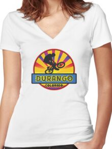MOUNTAIN BIKE DURANGO COLORADO BIKING MOUNTAINS Women's Fitted V-Neck T-Shirt