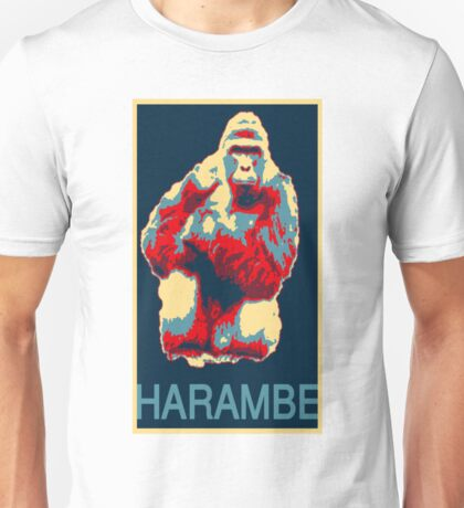 Harambe RIP Silverback Gorilla Gentle Giant Obama Style Poster Tribute Zoo Unisex T-Shirt
