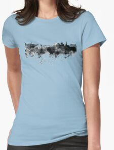 Luxembourg skyline in black watercolor Womens Fitted T-Shirt