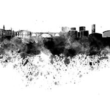 Luxembourg skyline in black watercolor by paulrommer