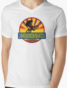 MOUNTAIN BIKE JACKSON WYOMING BIKING MOUNTAINS Mens V-Neck T-Shirt