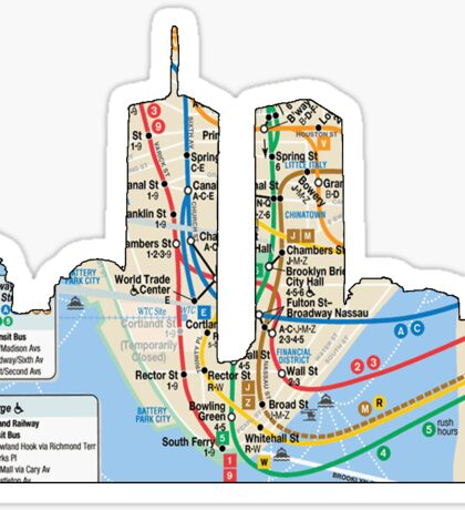 NYC Twin towers subway map, NYC, east river, Brooklyn, queens, Bronxs, Manhattan Sticker
