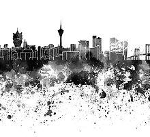 Macau skyline in black watercolor by paulrommer