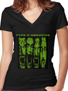 type o negative 2016 scream indo Women's Fitted V-Neck T-Shirt