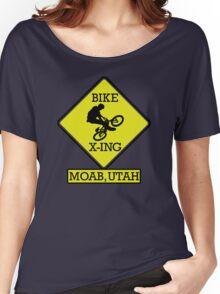 MOUNTAIN BIKE MOAB UTAH BIKE XING CROSSING BIKING MOUNTAINS Women's Relaxed Fit T-Shirt