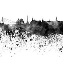 Riga skyline in black watercolor by paulrommer