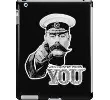 World War One, Lord Kitchener, WW1, Your Country needs you! Recruitment Poster, on BLACK iPad Case/Skin