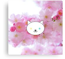 Nova - White Cat Blue Yellow Eyes - Cherry Blossom Background Canvas Print