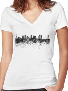 Rotterdam skyline in black watercolor Women's Fitted V-Neck T-Shirt
