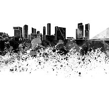 Rotterdam skyline in black watercolor by paulrommer