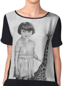Full Moon Small Giraffe  Chiffon Top