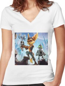 ratchet clank robot 2016 Women's Fitted V-Neck T-Shirt