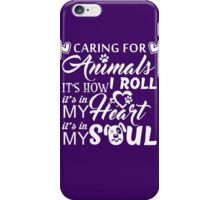 Caring For Animals Light iPhone Case/Skin