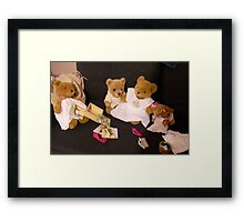 Teddy Bears in Dresses on the Couch Framed Print