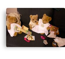 Teddy Bears in Dresses on the Couch Canvas Print