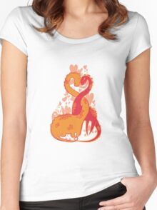 Prehistoric dinos love Women's Fitted Scoop T-Shirt