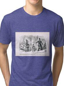 Misunderstanding with the law 19th Century cartoon by John Leech Tri-blend T-Shirt