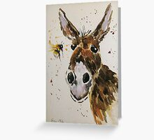 Funny Donkey and Bumble bee Greeting Card