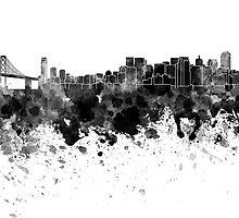 San Francisco skyline in black watercolor by paulrommer