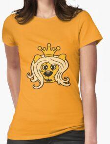 queen princess crown queen face head girl woman female Teddy Bear comic cartoon sweet cute Womens Fitted T-Shirt