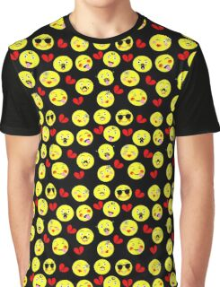 Cute Funny Emoji Guys Trendy Modern Patterned Graphic T-Shirt