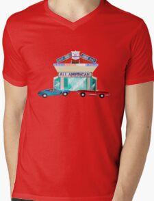 All American Diner print Mens V-Neck T-Shirt