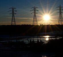 Sunset at Hydro Dam by Crystal Zacharias
