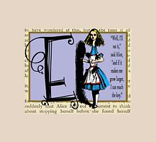 Alice in Wonderland and Through the Looking Glass Alphabet E Womens Fitted T-Shirt