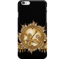Mechanical wings in steampunk style with clockwork. Gold and black color. iPhone Case/Skin