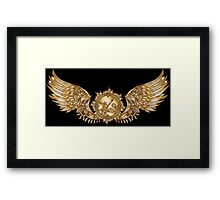 Mechanical wings in steampunk style with clockwork. Gold and black color. Framed Print