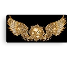 Mechanical wings in steampunk style with clockwork. Gold and black color. Canvas Print