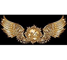 Mechanical wings in steampunk style with clockwork. Gold and black color. Photographic Print