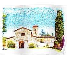 Pieve di Tho: church with trees Poster