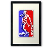 muay thai skull thailand martial art sport logo badge sticker shirt Framed Print