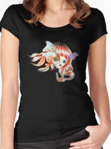Dreamland Muses - Jellyfish Girl & Goldfish Women's Fitted Scoop T-Shirt
