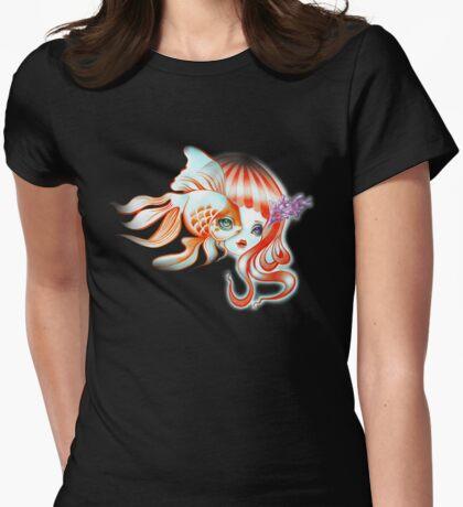 Dreamland Muses - Jellyfish Girl & Goldfish Womens Fitted T-Shirt