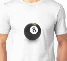 billiard pool ball with number eight 8 solid black Unisex T-Shirt