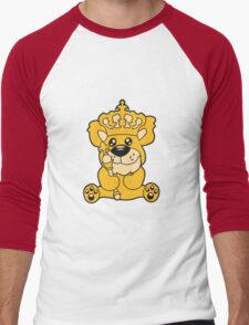 king crown old opa scepter sitting Teddy comic cartoon sweet cute Men's Baseball ¾ T-Shirt