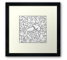 Cat Pattern Framed Print