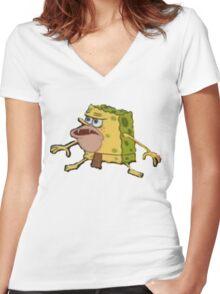Caveman/Prehistoric Spongebob Meme Women's Fitted V-Neck T-Shirt