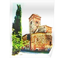 Pieve di Tho: church apse with bell tower and trees Poster