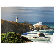 Breaking Waves At Yaquina Head Lighthouse Poster