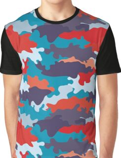 Bright blue color style camouflage pattern Graphic T-Shirt