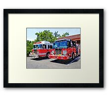 Two Fire Engines in Front of Firehouse Framed Print