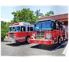 Two Fire Engines in Front of Firehouse Poster
