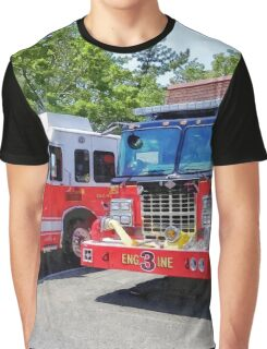 Two Fire Engines in Front of Firehouse Graphic T-Shirt
