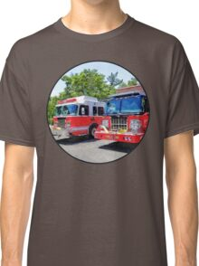 Two Fire Engines in Front of Firehouse Classic T-Shirt